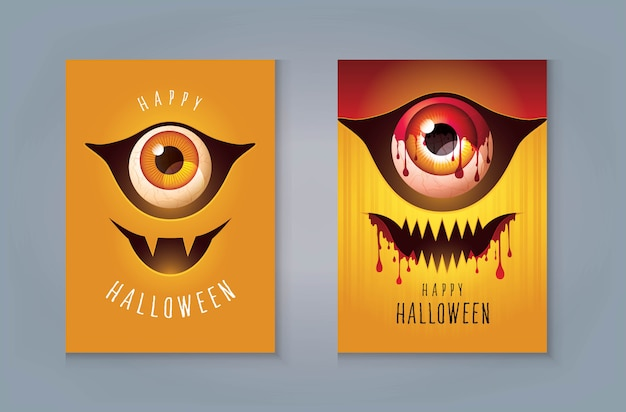 Happy halloween night party greeting card. scary face, creepy zombie mask, monsters eye with blood