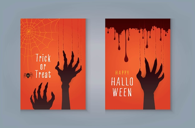Happy halloween night party greeting card, zombie hand's claws scratch scrape track, scary hand with nails and blood.