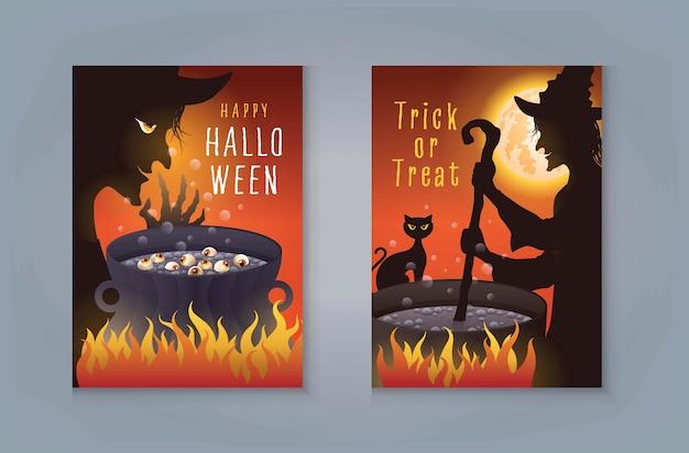 Счастливая вечеринка в честь хэллоуина, ведьма на хэллоуин готовит волшебное зелье в котле. старая ведьма с котом варит волшебное зелье и полнолуние для пригласительного билета.