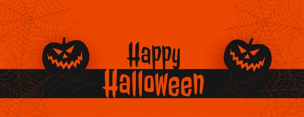 Happy halloween orange banner with pumpkins and spiderweb