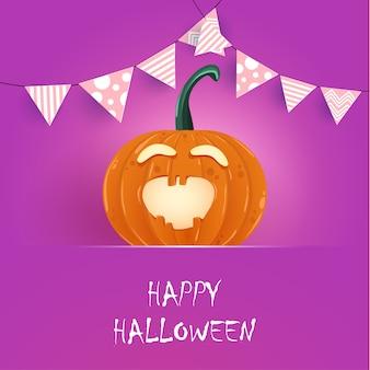 Happy halloween. orange pumpkin with funny characters