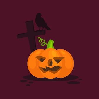 Happy halloween orange realistic pumpkin on dark background