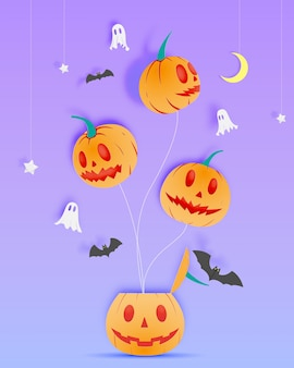 Happy halloween paper art background with ghost vector illustration