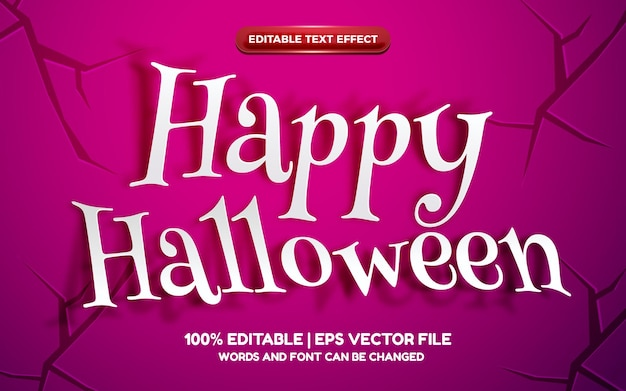 Happy halloween paper cut 3d editable text effect on purple background