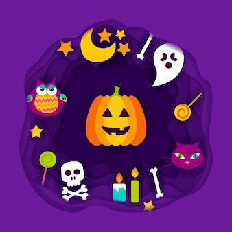 Счастливый хэллоуин вырезать из бумаги. векторные иллюстрации. кошелек или жизнь.