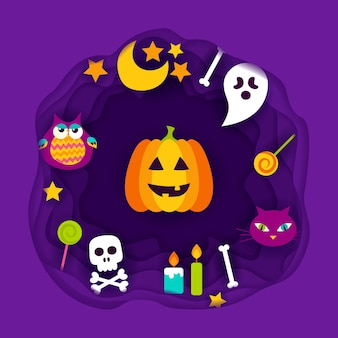 Happy halloween paper cut. vector illustration. trick or treat.