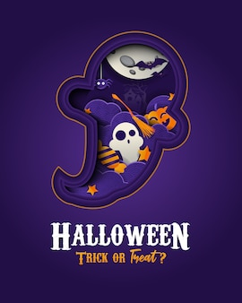 Happy halloween papercut style banner