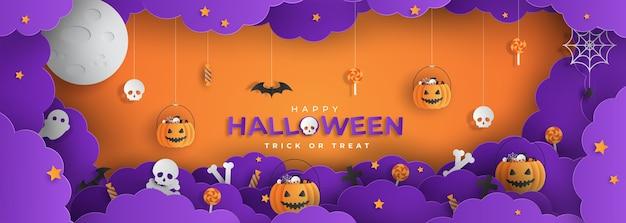 Счастливый хэллоуин стиль вырезки из бумаги