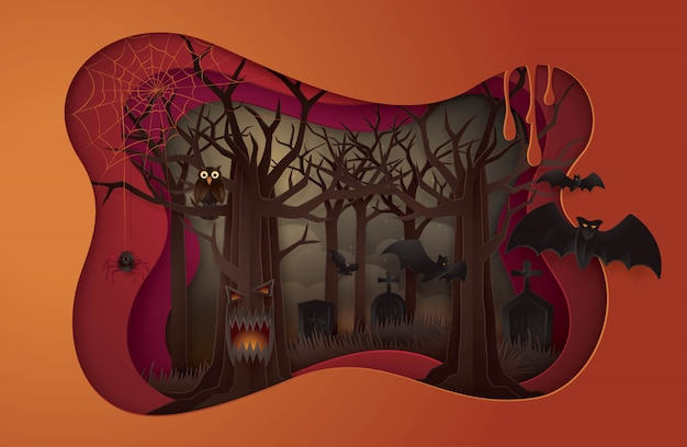 Happy halloween party, abstract halloween spooky tree with graveyard