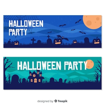 Happy halloween party banner set in flat design