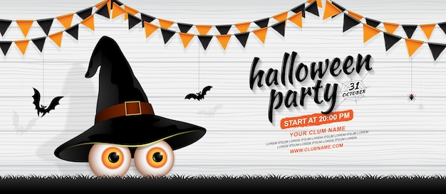 Happy halloween party banner template eyes with witch hat