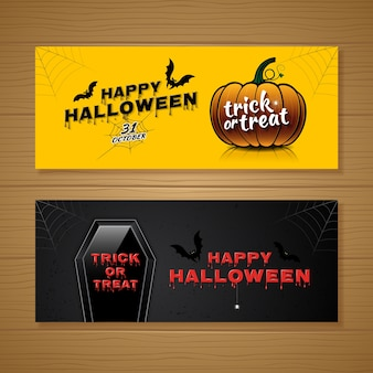 Happy halloween party banner template pumpkin and coffin