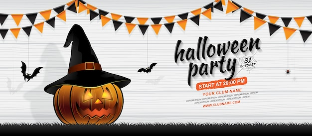 Happy halloween party banner template pumpkin with witch hat