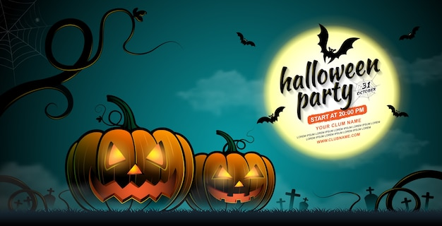 Happy halloween party banner template pumpkins and bats