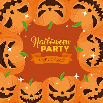 Happy halloween party banner with frame of pumpkins