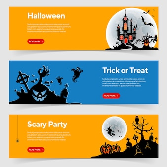 Happy halloween party banners with castle on full moon background, zombie, witch and halloween pumpkins. vector illustration