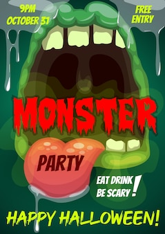 Happy halloween party flyer with monster mouth