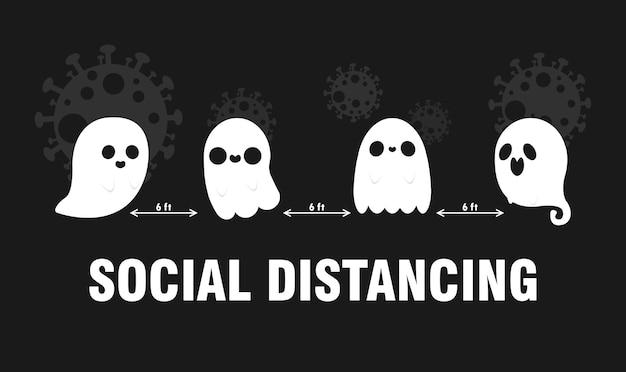 新しい通常の概念の怖い幽霊と社会的距離のcovid19コロナウイルスのための幸せなハロウィーンパーティー
