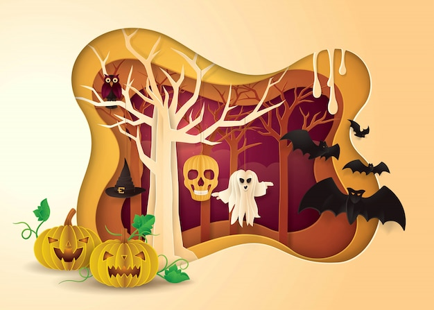 Happy halloween party frame, abstract tree hanging ghost, skull