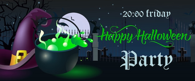 Happy halloween party. friday lettering. witch hat and cauldron
