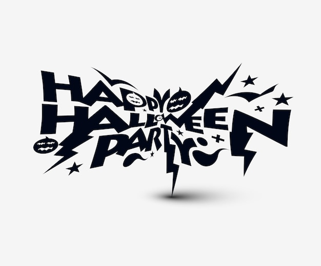 ハッピーハロウィンパーティーグリーティングカード書道-ハロウィンバナーまたはポスター。