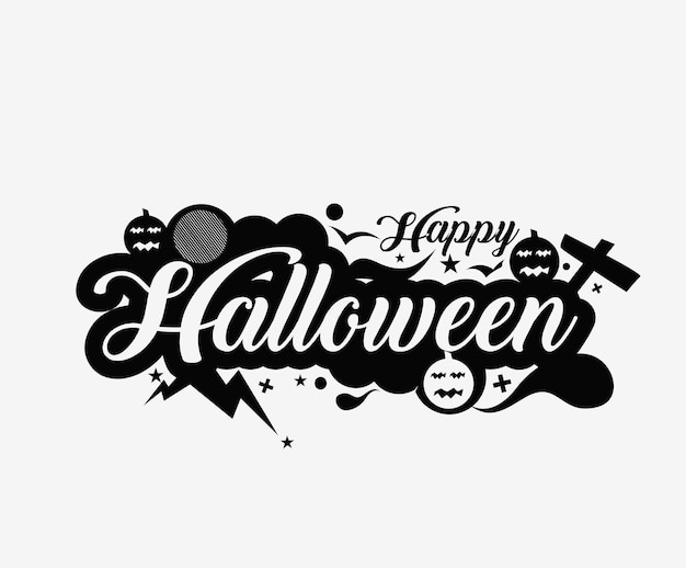 Happy halloween party greeting card calligraphy - halloween banner or poster.