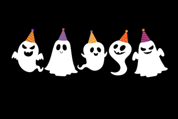 Happy halloween party greeting card with cute ghost.