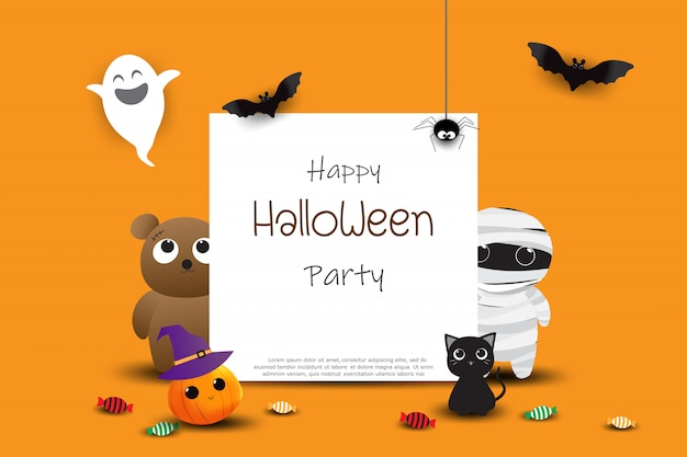 Happy halloween party greeting card
