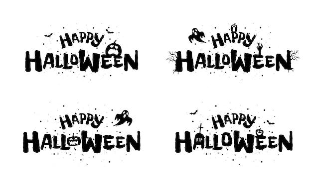 Счастливый хэллоуин праздник рисованной надписи дизайн традиционный фестиваль изолированных надпись
