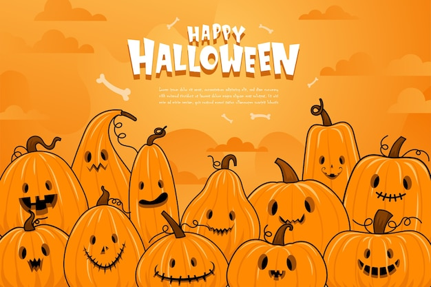 Happy halloween or party invitation background with night clouds and pumpkins.