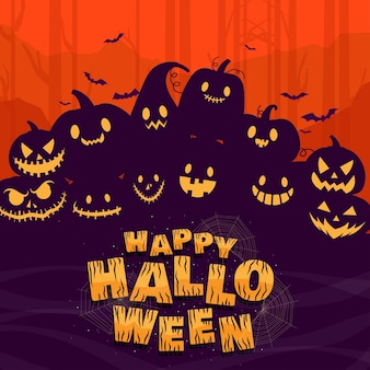 Happy halloween or party invitation background with pumpkins