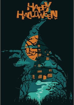 Happy halloween or party invitation background with witch broom ghost flying and scary castle