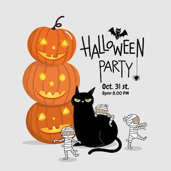 Happy halloween party invitation card with cute mummy