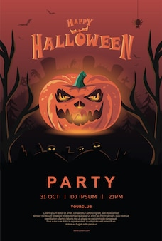 Happy halloween party invitations. pumpkin with glowing eyes