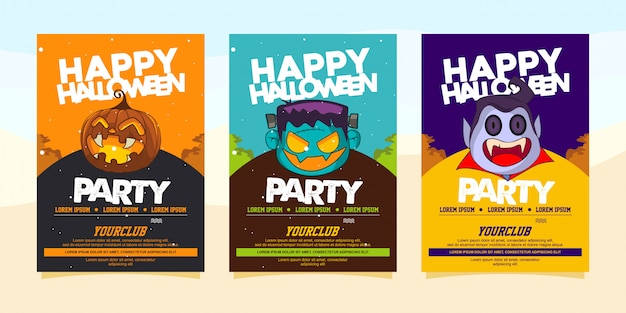 Happy halloween party invitations with illustration of halloween costume