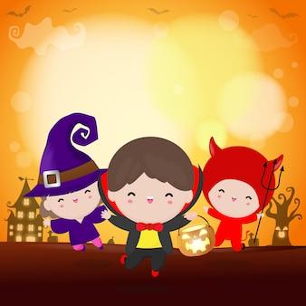 ハッピーハロウィンパーティーキッズコスチューム。ハロウィーンのコスプレの子供たちのグループ。