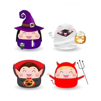 Happy halloween party kids costume. isolated     illustration