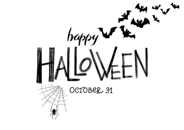 Happy halloween party lettering with hand drawn spider, spider web and bats poster