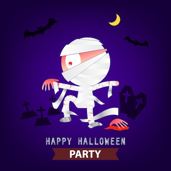 Happy halloween party mummy background design