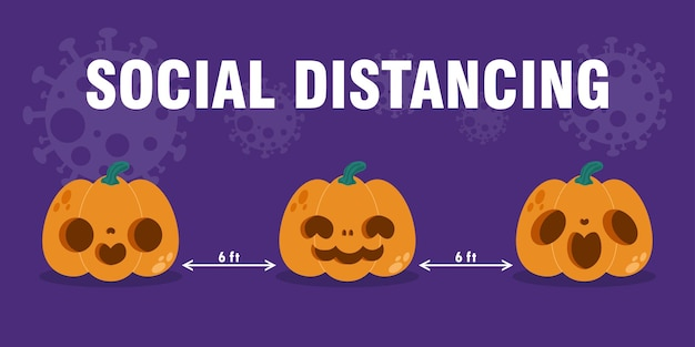 Happy halloween party for new normal concept pumpkin head and social distancing protect coronavirus