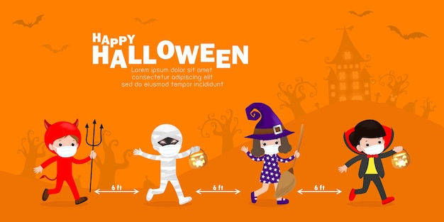 Happy halloween party for new normal cute little group kids dressed in halloween fancy dress to go trick or treating and wearing face mask and social distancing protect coronavirus covid 19 banner