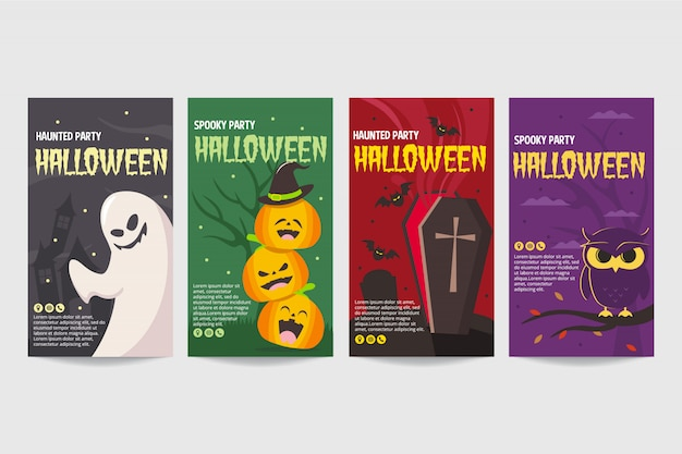 Happy halloween party poster or flyer template set