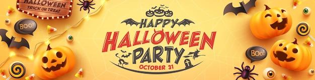Плакат или баннер счастливой вечеринки в честь хэллоуина с конфетами-призраками и элементами хэллоуина