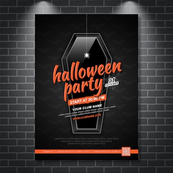 Happy halloween party poster template coffin and spider web