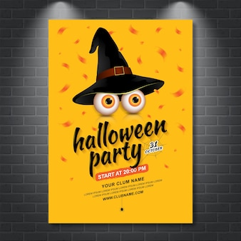 Happy halloween party poster template eyes with witch hat