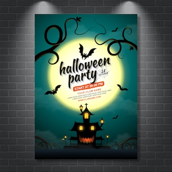 Happy halloween party poster template haunted house and bats