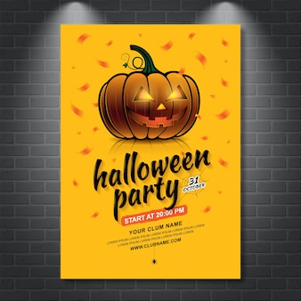 Happy halloween party poster template pumpkin and spider web