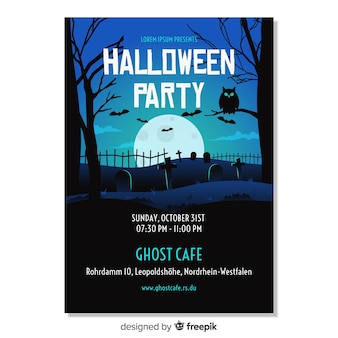 Happy halloween party poster template