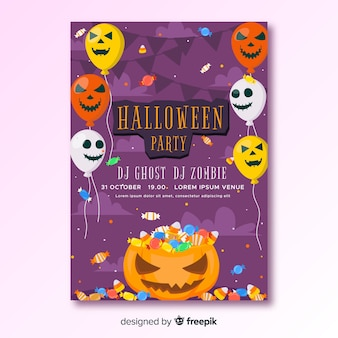 Happy halloween party poster with balloons
