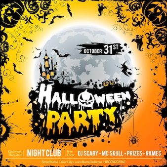 Happy halloween party poster with castle on full moon background, halloween pumpkins and grunge frame. vector illustration